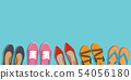 Men's and Women's shoes background. Shoes icons. Sneakers and Slippers collection. Vector 54056180