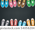 Sneakers top view. Shoes background. Sneakers and Slippers collection. Vector 54056204