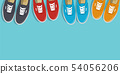 Sneakers top view. Shoes background. Sneakers and Slippers collection. Vector 54056206