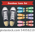Sneakers top view. Shoes background. Sneakers and Slippers collection. Vector 54056210