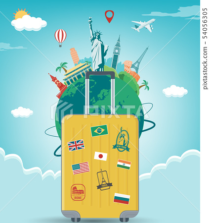 Travel composition with famous world landmarks. Travel and Tourism concept. Vector 54056305