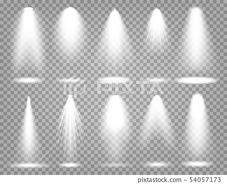 Vector spotlight set. Bright light beam. Transparent realistic effect. Stage lighting. 54057173