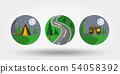 Nature, vacation, camping. Set of icons, logos . 54058392