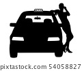 Woman taxi driver standing next to the taxi car 54058827