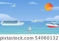 Sea boats and little fishing ships. Sailboats flat vector background illustration.Water transport 54060132