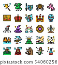 fairy tale color line pixel perfect icons 54060256