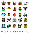 autumn pixel perfect color line icons 54060262