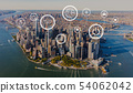 Green eco earth concept with aerial view of Manhattan 54062042