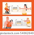 People with overweight doing exercises set of banners vector illustration. Your health matters 54062640