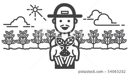 A happy farmer handing on cotton in farm field for 54063282