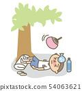 休息夏天中風小學的學生戶外 54063621