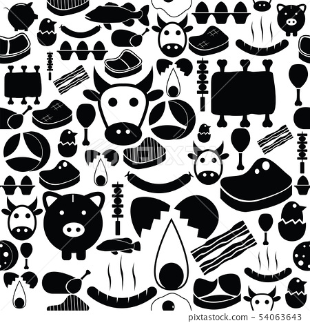 meat seamless pattern background icon. 54063643