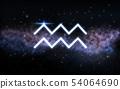 aquarius zodiac sign over night sky and galaxy 54064690