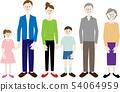 세 가족의 일러스트 소재 54064959