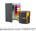 Color Palette Guide with bucket of paint on White Background. 54065797