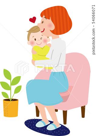 我喜歡媽媽和寶寶在沙發上 54066071