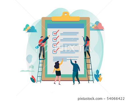 People fill out checklist on a clipboard.  54066422