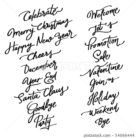 Calligraphy text for New Year and Christmas celebr 54066444