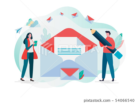 People hold mail. Working process, New email 54066540
