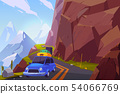 Traveling on car cartoon vector background 54066769