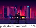 Couple enjoying Mexico city night view vector 54066776
