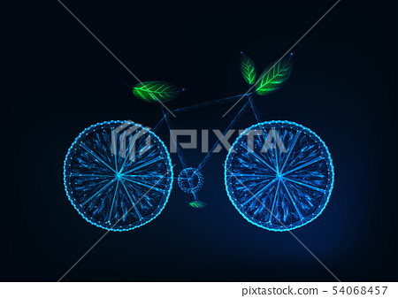 Futuristic bicycle made of lemon slices,and green leaves. Eco tourism, ecological lifestyle concept. 54068457
