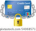 신용 카드와 자물쇠의 이미지 일러스트 54068571
