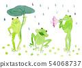 3 びき 개구리 수채화 54068737