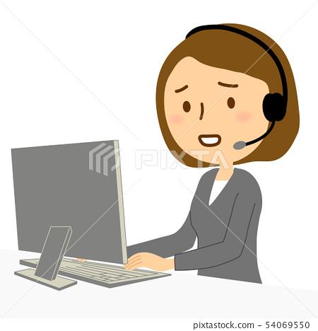 컴퓨터 콜센터 여성 정장 곤란 얼굴 54069550