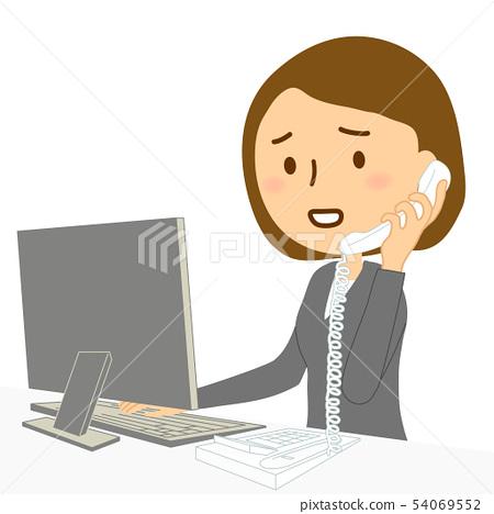 컴퓨터 유선 여성 정장 곤란 얼굴 54069552