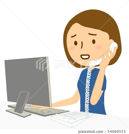 컴퓨터 유선 여성 티셔츠 곤란 얼굴 54069553