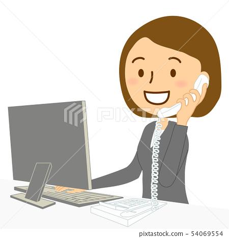 PC固定電話女人西裝微笑 54069554