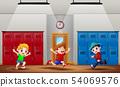Happy boys running at school hallway 54069576