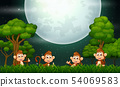 Happy monkey in nature landscape 54069583
