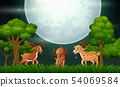 Deer cartoon playing on the night landscape 54069584