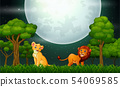 Lion cartoon roaring on the nature landscape 54069585