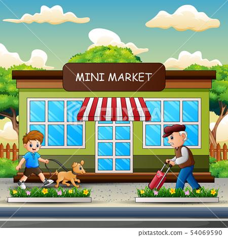 Happy people walking in front the mini market 54069590