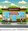 Cartoon people in front the mini market 54069592