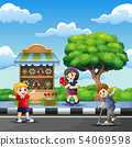 Happy children going to the flower shop 54069598