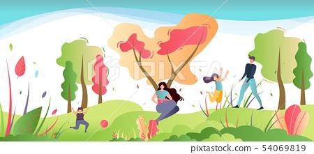Family Recreation on Nature Cartoon Illustration 54069819