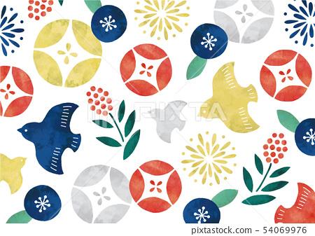 復古流行日本模式水彩鳥和花 54069976