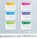 Infographics tab paper index with 6 data template. 54070151