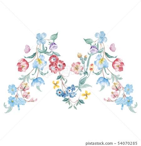新清青,水彩花卉,開花英文字母 54070285
