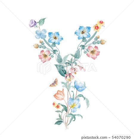 新清青,水彩花卉,開花英文字母 54070290