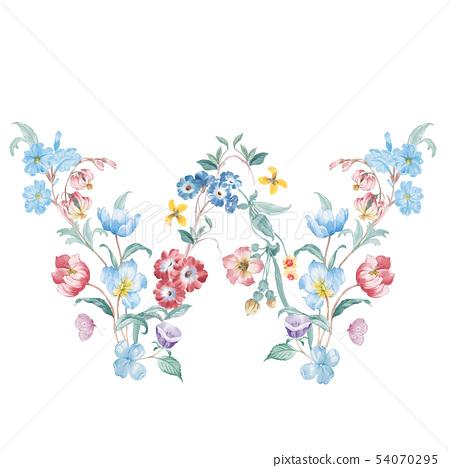 新清青,水彩花卉,開花英文字母 54070295