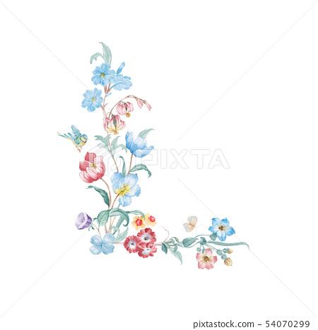 新清青,水彩花卉,開花英文字母 54070299