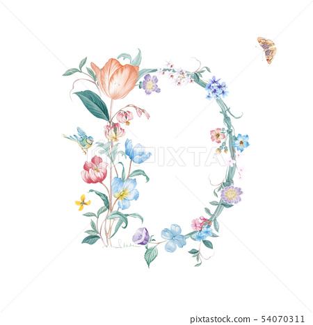 新清青,水彩花卉,開花英文字母 54070311