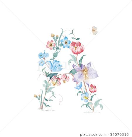 新清青,水彩花卉,開花英文字母 54070316