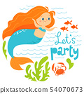 Let's party cartoon style vector summer design with cute mermaid girl and sea fish  54070673