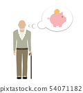 old man grandpa character thinking about saving money in piggy bank 54071182